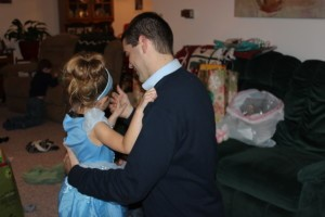 Ashley's daughter dancing with daddy